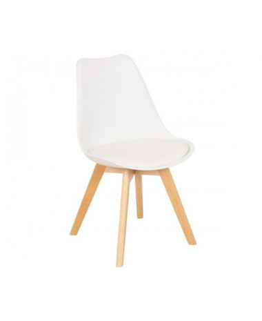 Silla n rdica ims blanco patas de madera de haya for Silla nordica madera