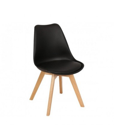 Silla n rdica ims negro patas de madera de haya for Silla nordica madera