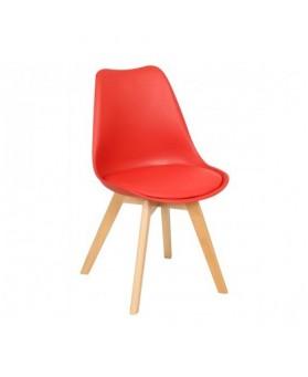 Silla Nórdica Ims rojo (patas de madera de haya natural)