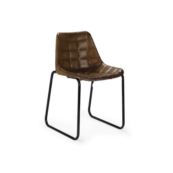 silla dise o vintage cuero aclochada cuadros