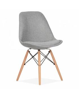 Silla dise o eames tapizada en gris patas de madera for Disenos de sillas de madera