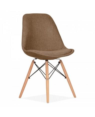 silla dise o eames tapizada en marr n patas de madera