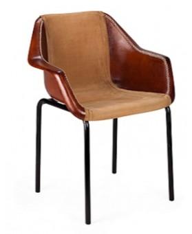Sillón Diseño Vintage Cuero  Combiando tela.