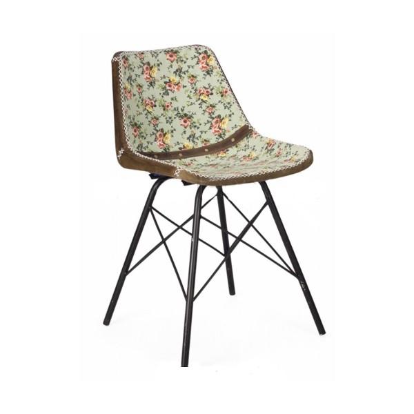 silla dise o vintage cuero flores