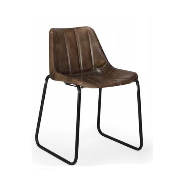 silla dise o vintage cuero acolchada rayas