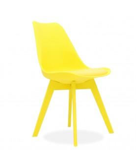 Silla nórdica Ims amarillo cojín patas amarillas