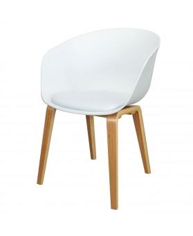 Sillón de diseño Klass Blanco con cojín y patas de madera