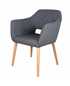 Sillón Nórdico Ponte tapizado gris y patas de madera