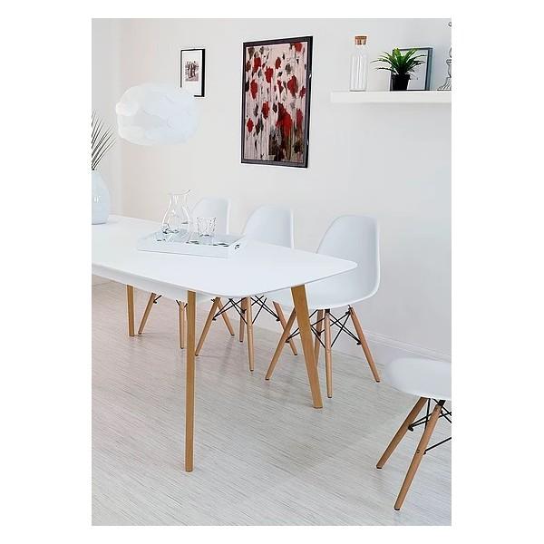 Set mesa nórdica Tor blanca + 4 sillas Ims blancas