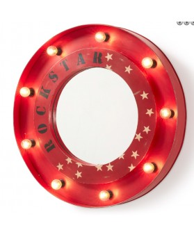 Espejo con luces rojo de metal
