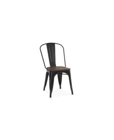 Silla Vintage Tol negra asiento de madera