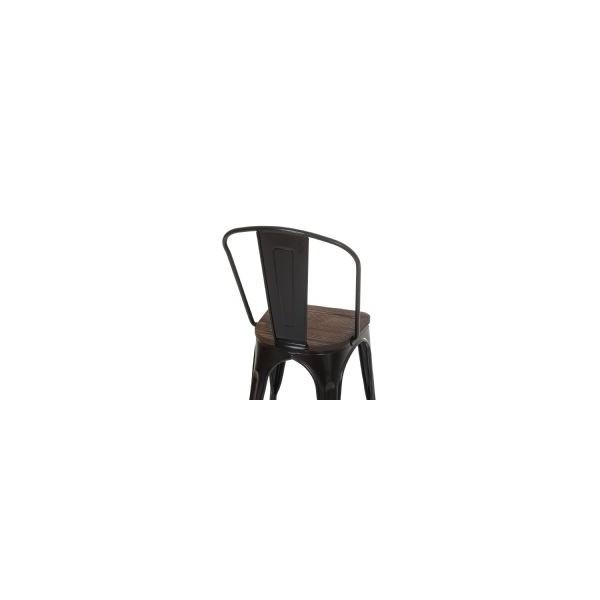 Silla vintage tol negra asiento de madera for Sillas negras de madera