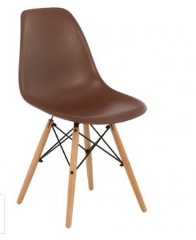 Silla Diseño Ims polipropileno Marrón con patas de madera