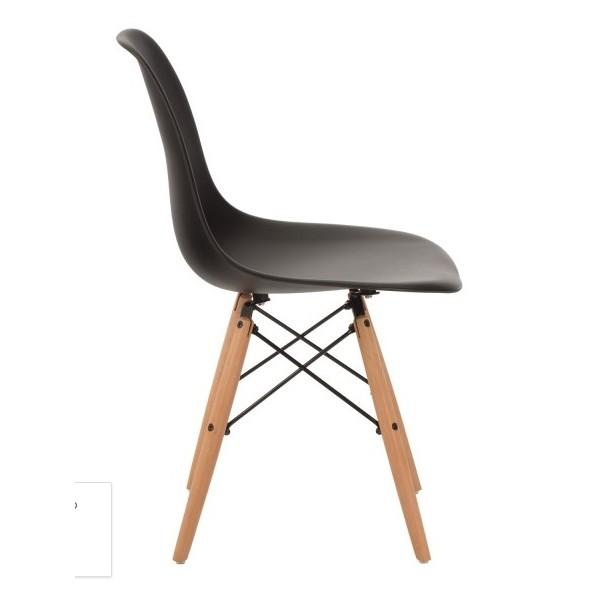 Silla dise o eames negro con patas de madera for Silla diseno eames