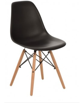 Silla Diseño Ims  polipropileno Negro con patas de madera