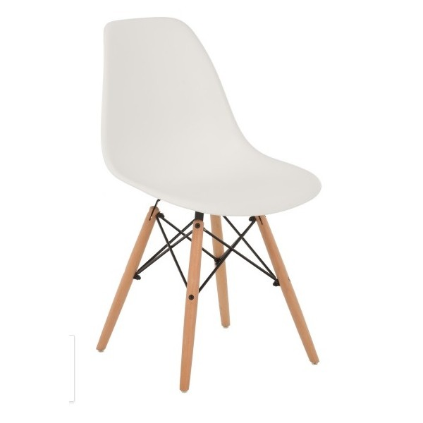 Silla dise o eamespolipropileno blanco con patas de madera for Disenos de sillas de madera