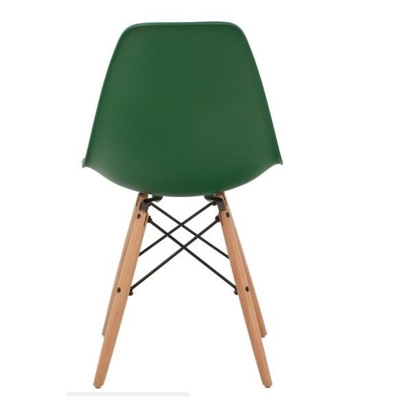 Silla dise o eames polipropileno verde con patas de madera for Silla diseno eames