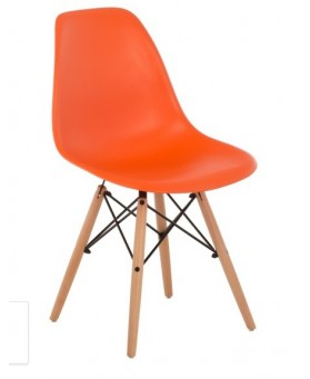 Silla Diseño Ims polipropileno NARANJA con patas de madera