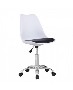 Silla Diseño Tulip Blanco  Oficina  asiento negro con ruedas