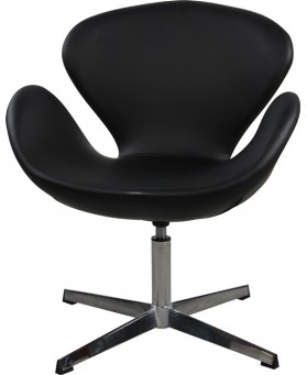 Sillón diseño Swan polipiel negra