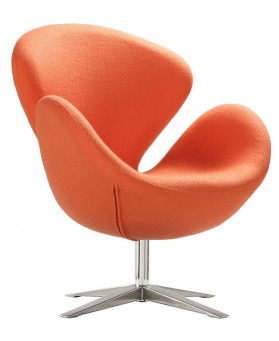 Sillón diseño Swan cachemir naranja
