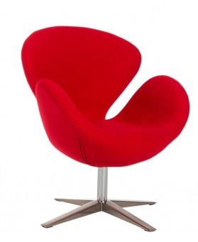 Sillón diseño Swan cachemir  rojo