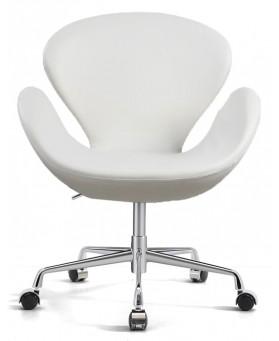 Sillón diseño Swan polipiel  blanca con ruedas