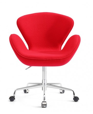 Sillón diseño Swan polipiel  roja con ruedas