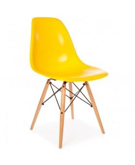 2 Sillas Diseño Ims Amarillo  ABS con patas de madera y 2 sillas sillas Ims naranja incliudo envio a
