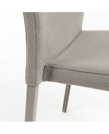 Silla Alba tapizada en tela gris claro