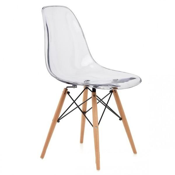 Silla dise o eames transparente con patas de madera for Disenos de sillas de madera