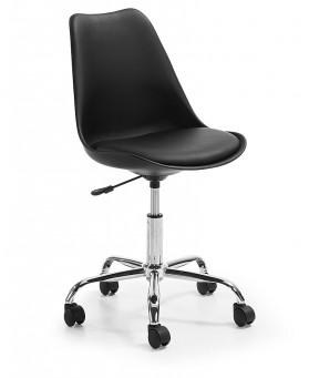 Silla Diseño Tulip Negro Oficina con ruedas