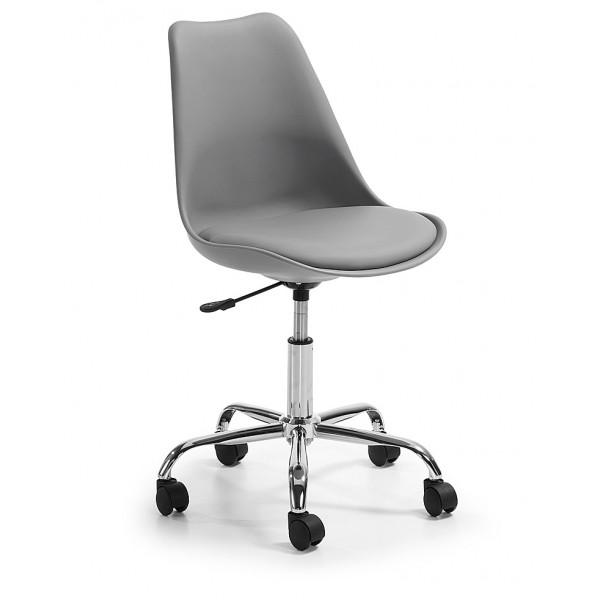 Silla dise o tulip gris oficina con ruedas for Rueditas para sillas oficina