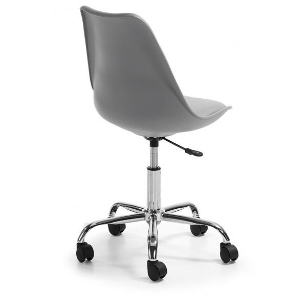 Silla dise o tulip gris oficina con ruedas for Sillas de oficina con ruedas