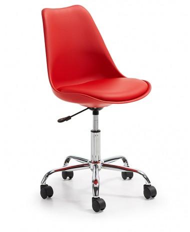 Silla Diseño Tulip Rojo Oficina con ruedas