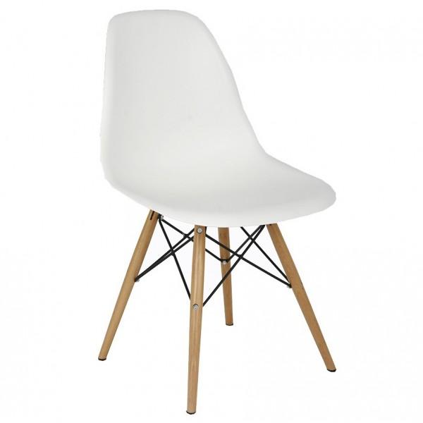 silla dise o eames blanco con patas de madera