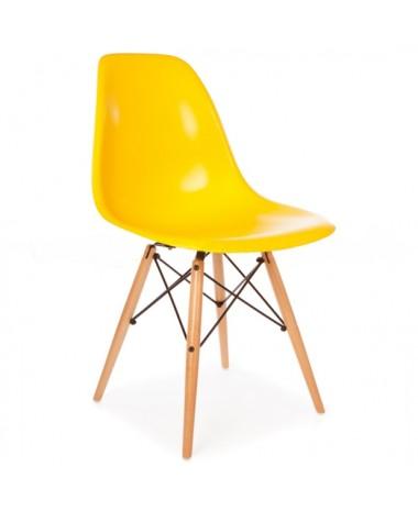 Silla Diseño Ims Amarillo con patas de madera