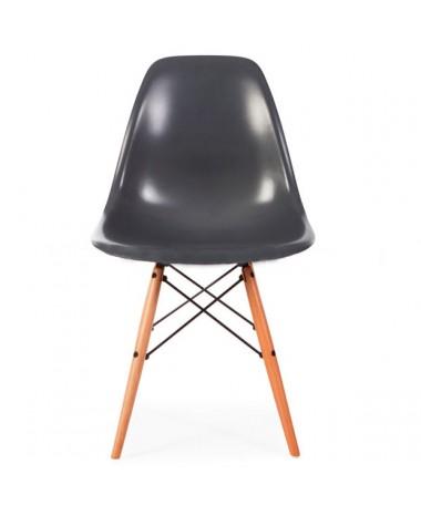 Silla dise o eames gris con patas de madera for Disenos de sillas de madera