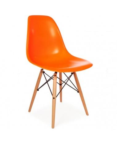 Silla Diseño Ims Naranja con patas de madera