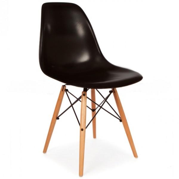 Silla dise o eames negro con patas de madera for Disenos de sillas de madera