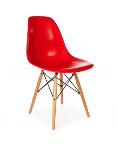 Silla Diseño Ims Rojo con patas de madera