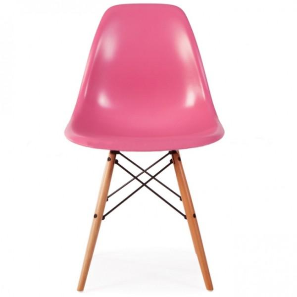 Silla dise o eames rosa con patas de madera for Silla diseno eames