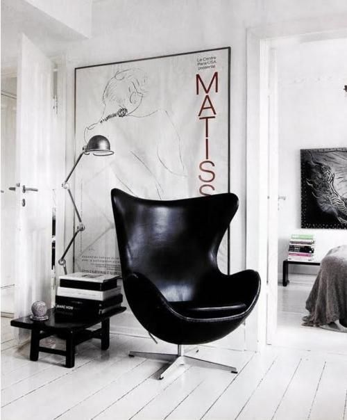 egg chair piel negro sm - Silla Egg